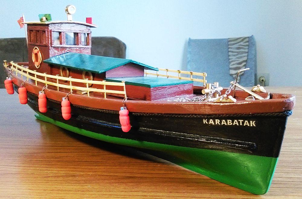 Uzaktan Kumandalı Modeller Satılık El Yapımı Rc Yüzer Model Servis Teknesi-Karabatak
