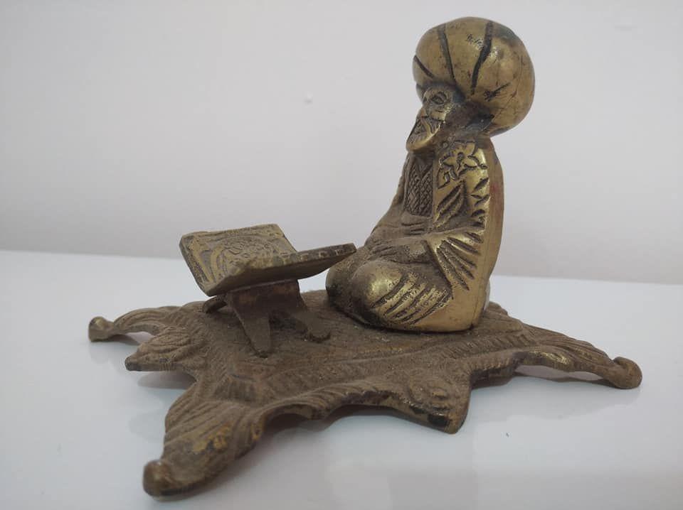 Heykeller Satılık Antika Pirinç Kitap Okuyan Derviş