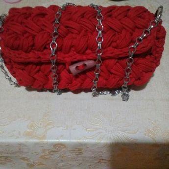 Tığ işi fıstık modeli kırmızı çanta