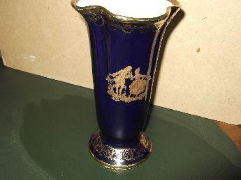 24 ayar  altın el boyamalı limoges  porselen vazo