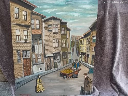 Bayram urun imzalı tual üzeri yağlı boya tablo