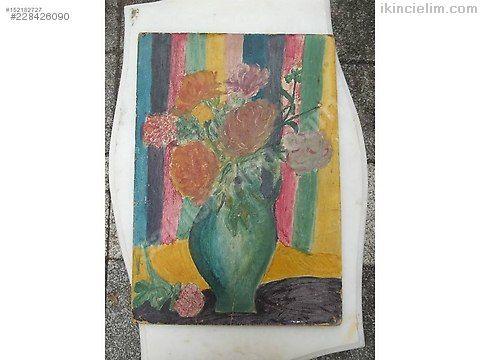 Karton üzeri yağlı boya tablo