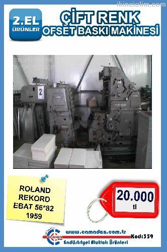 Çift Renk Ofset Baskı Makinesi Roland Rekord Ebat
