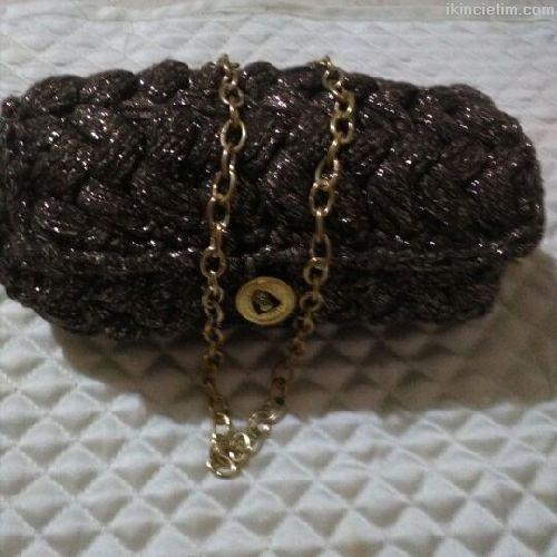 Tığ işi fıstık modeli sim detaylı çanta
