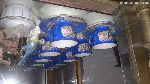Cin Mali Mavi Porselen Cay Fincanlari.