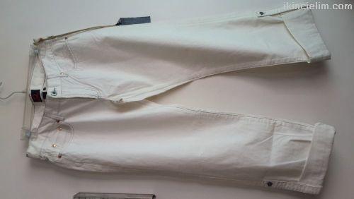 Beyaz Kot Pantalon