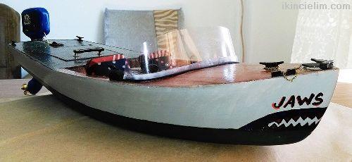 El Yapımı Yüzer Model Sürat Teknesi - Jaws