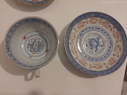 Çin porseleni 6'lı çay fincanı takımı. El boyaması