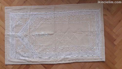 Sıfır, Keten Beyaz Nakışlı Seccade 72*125 cm.