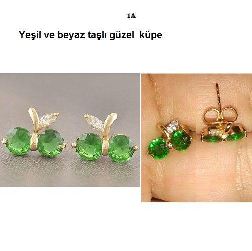 Bayan taşlı küpe  Yeşil ve beyaz taşlı