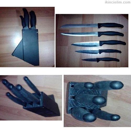 5'li Bıçak seti ve ahşap koyma yeri ile