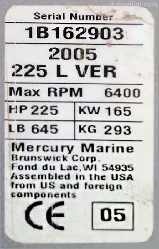 225 Hp - Mercury Verado - 4 Zamanlı