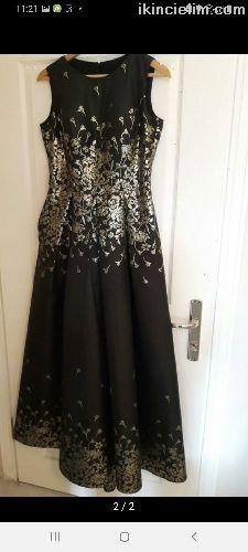 Siyah gold uzun elbise