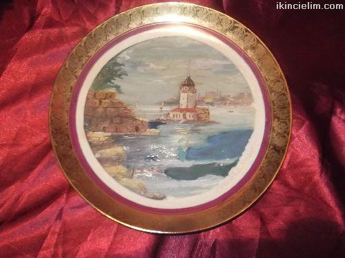 Porselen üstüne yağlı boya kız kulesi duvar tabağı